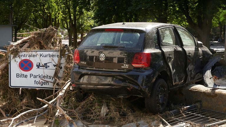 A car destroyed after extreme weather in Bad Neuenahr-Ahrweiler, Germany. Pic: AP