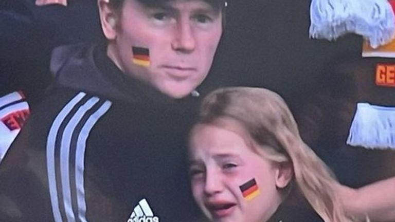 The girl was pictured crying as Germany lost to England at Wembley