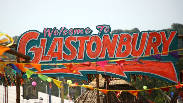 A general view of a sign on the third day of Glastonbury Festival at Worthy Farm, Somerset, England, Friday, June 28, 2019. Pic: Joel C Ryan/Invision/AP