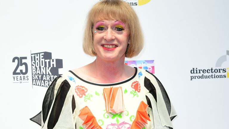 Grayson Perry at the South Bank Sky Arts Awards in London on 19 July 2021