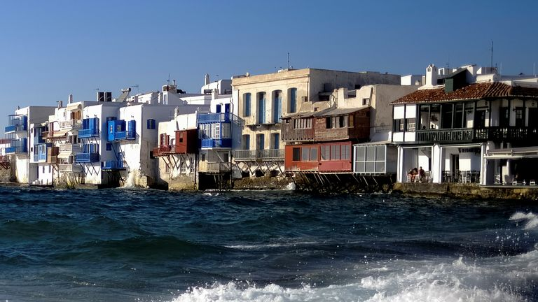 The Greek island of Mykonos, where music has been banned after a surge in COVID cases