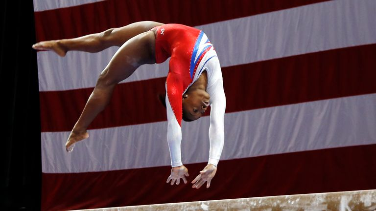 Simone Biles pictured competing in 2013. Pic: AP