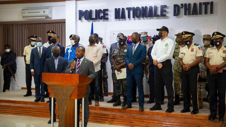 Interim Haitian president Claude Joseph addresses a news conference on the killing. Pic: AP