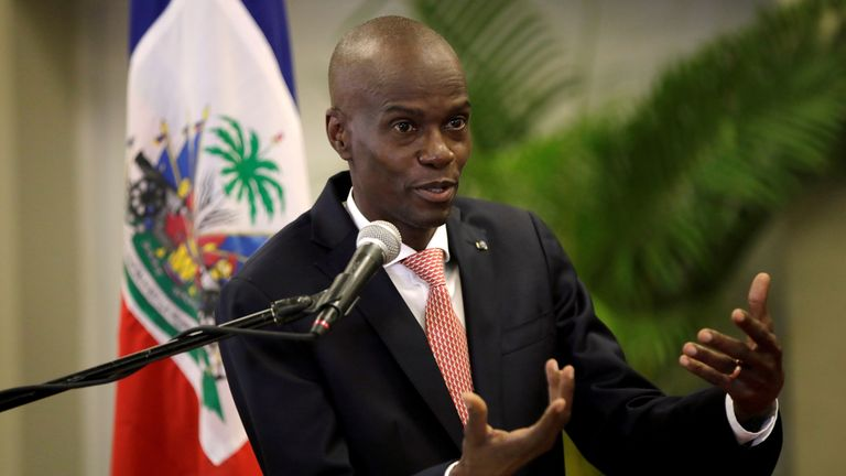 FILE PHOTO: Haiti's President Jovenel Moise speaks during a news conference to provide information about the measures concerning coronavirus, at the National Palace in Port-au-Prince FILE PHOTO: Haiti's President Jovenel Moise speaks during a news conference to provide information about the measures concerning coronavirus, at the National Palace in Port-au-Prince, Haiti March 2, 2020. REUTERS/Andres Martinez Casares/File Photo