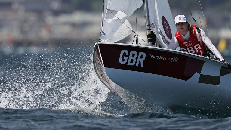 Tokyo 2020 Olympics - Sailing - Women's 470 - Opening Series - Enoshima Yacht Harbour - Tokyo, Japan - July 29, 2021. Hannah Mills and Eilidh McIntyre of Britain in action. REUTERS/Carlos Barria