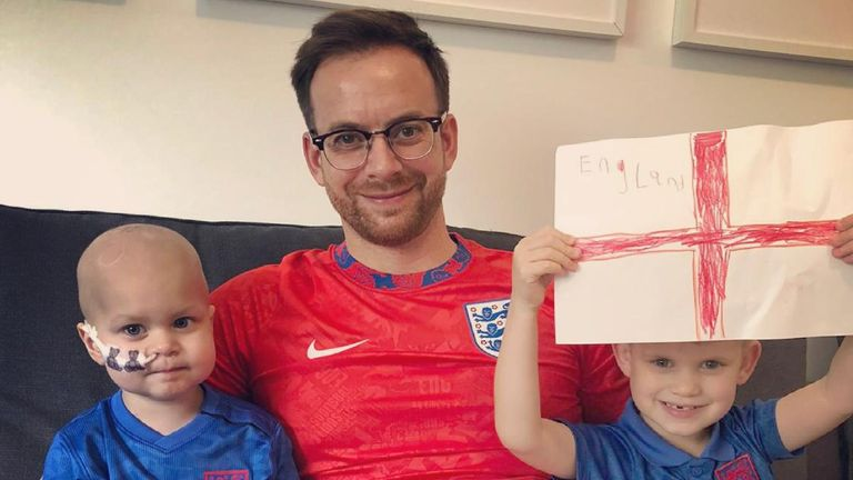Matt Crick with is son Harry Crick (left) who is fighting an embryonal tumour