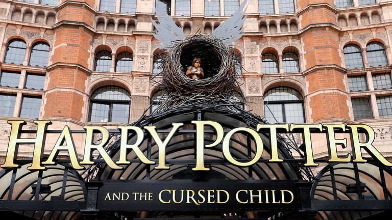 The Palace Theatre in London, showing advertising for the new Harry Potter play, Thursday, July 28, 2016. Harry Potter and the Cursed Child is set to open to the public on Saturday July 30. (AP Photo/Kirsty Wigglesworth)