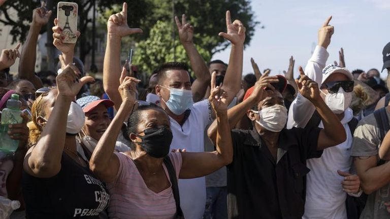 Anti-government protesters in Havana