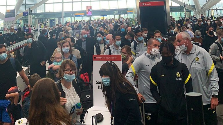 Long queues at Heathrow airport after security staff were told to self-isolate by the NHS Test and Trace app. Pic: Kathryn Wylie