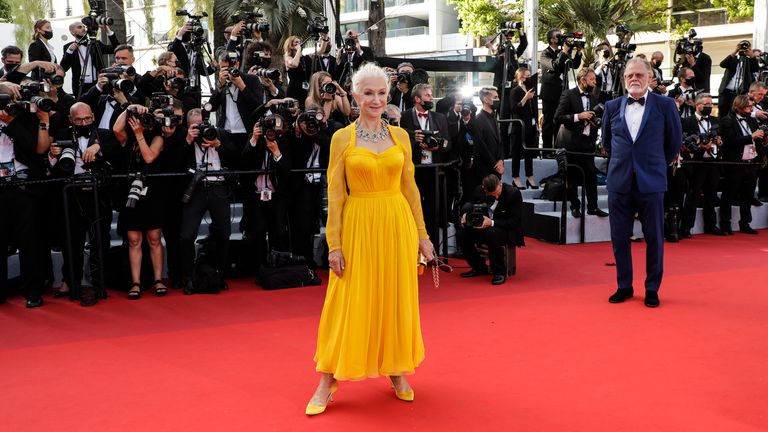 Helen Mirren on the red carpet for the opening night of the Cannes Film Festival. Pic: AP