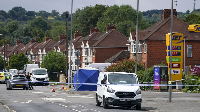Police activity at the scene in Micklefield Road, High Wycombe, after a man in his fifties was found by police not breathing and surrounded by a group of males
