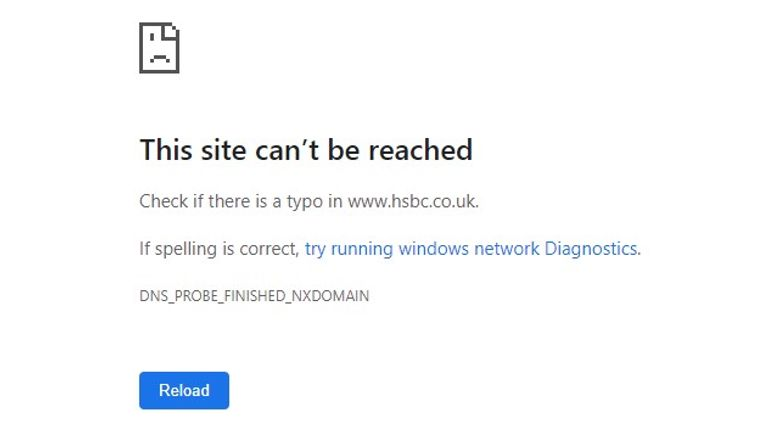 HSBC's website says the site cannot be reached
