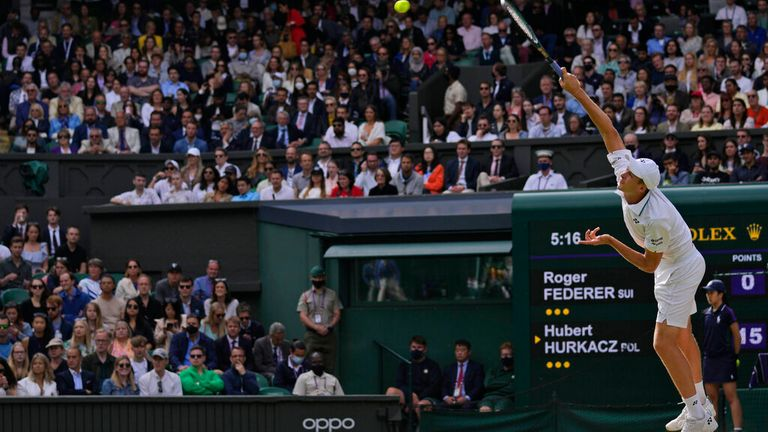Hurkacz serves to Federer during the men's singles quarterfinals