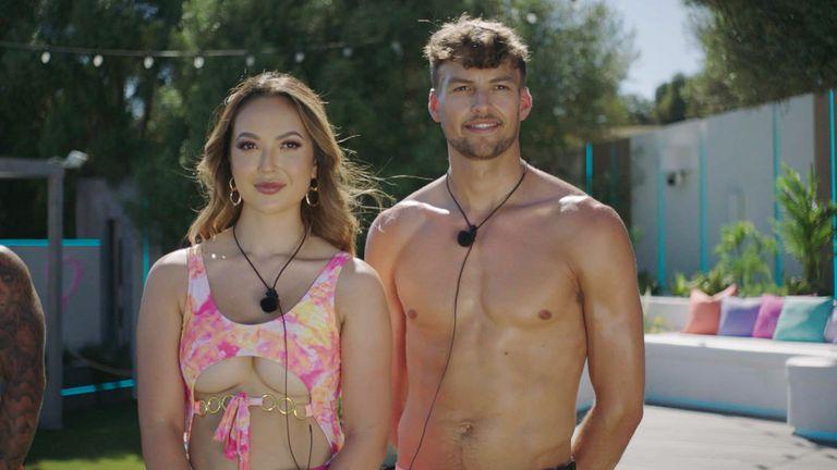 Love Island contestants Sharon Gaffka and Hugo Hammond. Pic: ITV/Lifted Entertainment