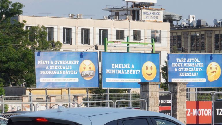 """The Hungarian government is currently running an advertising campaign featuring emojis on their posters. There is one which specifically reads """"Do you fear for your child about sexual propaganda?"""""""