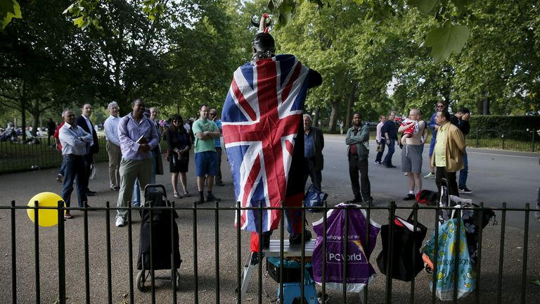 A speaker named Terminator 24, draped in a Union flag, addresses a crowd at Speakers' Corner in Hyde Park, London, Britain June 7, 2015. At Speakers' Corner in the northeast corner of Hyde Park in London, near the bustle of Oxford Street, anyone has the right to turn up every Sunday and talk about whatever is dear to their heart.