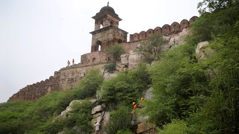 Jaipur: SDRF team search operation work in progress after lightning strike at Watch tower near historical Amer fort in Jaipur on Monday, Juky 12,2021. 11 dead and many injured after in this incident.(Photo By Vishal Bhatnagar)