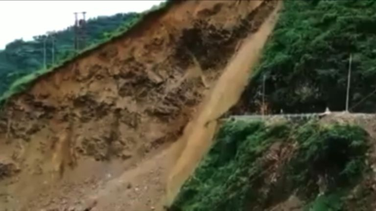 No casualties after a stretch of road collapses due to a landslide in the Sirmaur district in Himachal Pradesh, India.