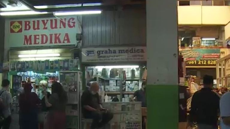 The Pramuka street market, where people have been trying to buy medicines