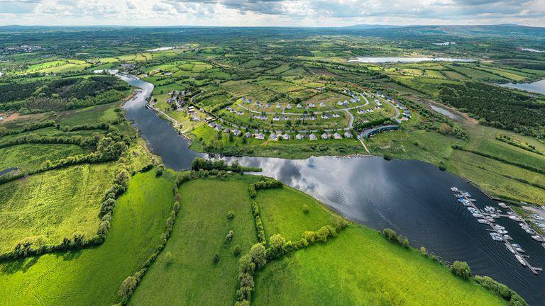Aerial view of rural Ireland
