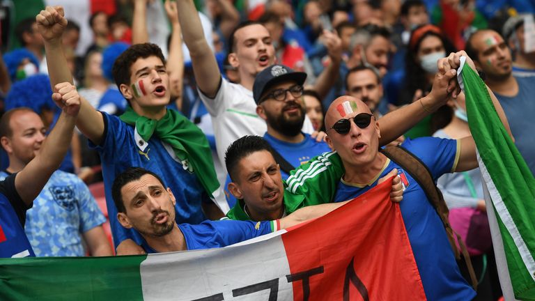 Soccer Football - Euro 2020 - Final - Italy v England - Wembley Stadium, London, Britain - July 11, 2021 Italy fans in the stands before the match Pool via REUTERS/Andy Rain
