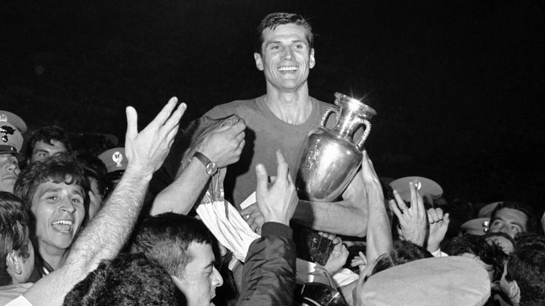 Giacinto Facchetti, captain of the Italian football team is carried by teammates after they had been presented with the cup. Pic: AP