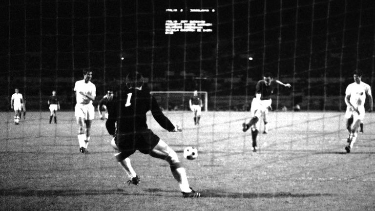 Anastasi shoots the ball past Yugoslavia's goalkeeper Pantelic to score Italy's second goal in the final of the European Nations Cup soccer tournament in Rome on June 10, 1968. Pic: AP