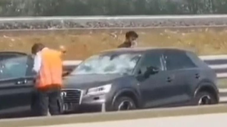 Hailstorm damages cars on northern Italian motorway