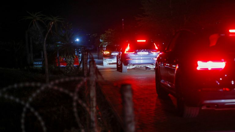 A convoy arrives at the home of former South African President Jacob Zuma in Nkandla, South Africa, July 7, 2021