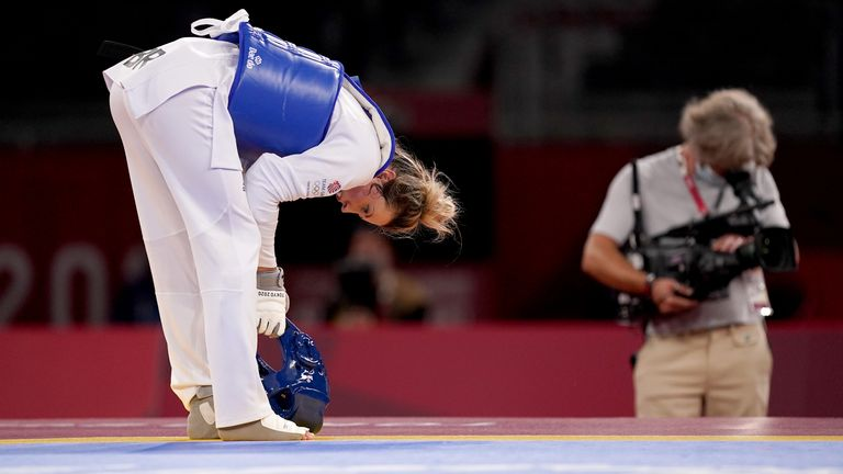 Great Britain's Jade Jones appears dejected after losing against Refugee Olympic Team's Kimia Alizadeh Zonoozi in the Women's -57KG Round of 16 at Makuhari Messe Hall A on the second day of the Tokyo 2020 Olympic Games in Japan. Picture date: Sunday July 25, 2021.
