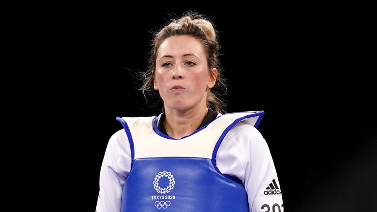 Great Britain's Jade Jones during her Women's -57KG Round of 16 match against Refugee Olympic Team's Kimia Alizadeh Zonoozi at Makuhari Messe Hall A on the second day of the Tokyo 2020 Olympic Games in Japan. Picture date: Sunday July 25, 2021.