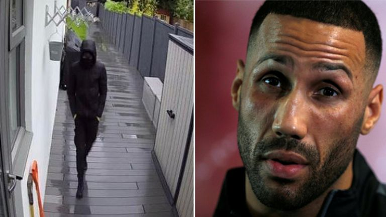 James DeGale (R) and an alleged intruder