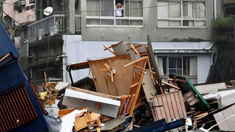 The mudslide has destroyed homes in the town of Atami