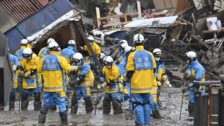 Teams have been using poles to probe beneath the mud