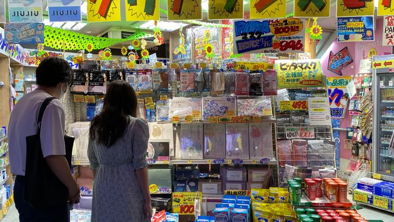 A shop in Tokyo selling face masks