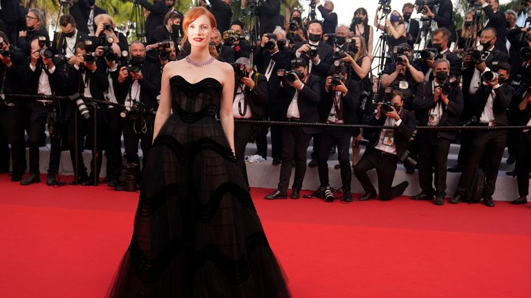 Jessica Chastain on the red carpet at the opening of the Cannes Film Festival 2021. Pic: Vianney Le Caer/Invision/AP