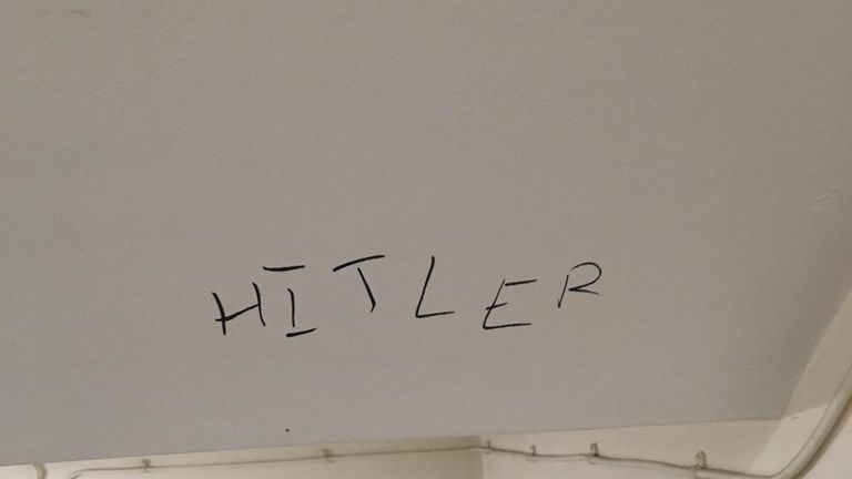 """In one incident, """"Hitler"""" was written on the wall of a communal flat block"""
