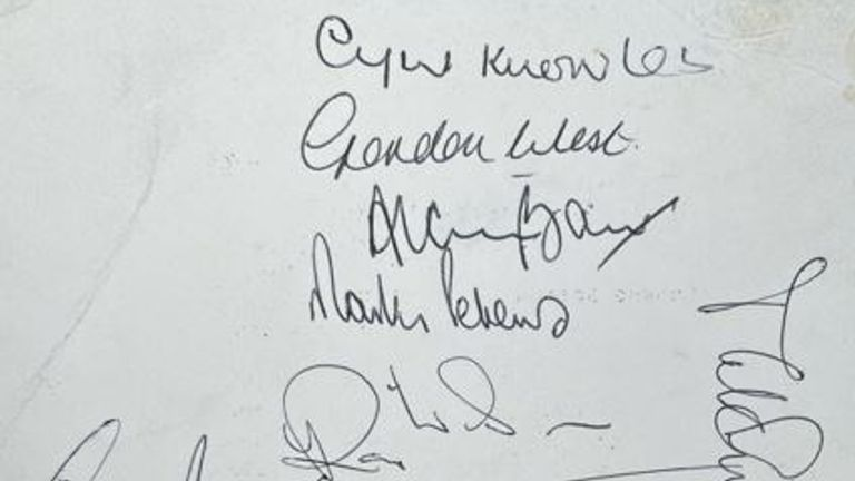 Signatures of England team and manager Alf Ramsey which was gifted to John by a friend