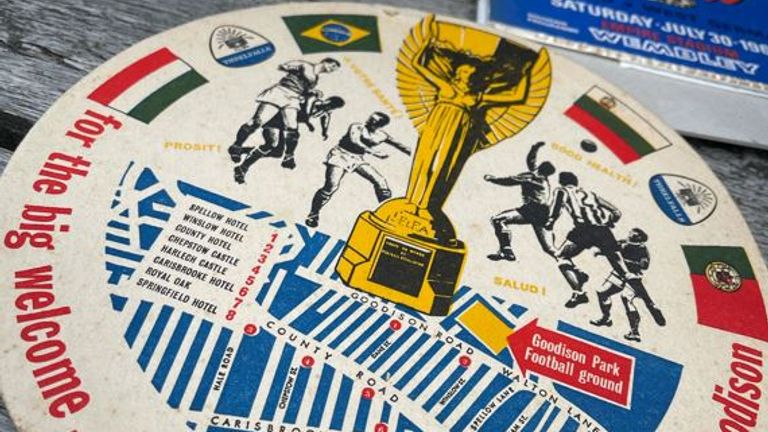 A 1966 World Cup beer mat John says he stole from a pub on the day of the final