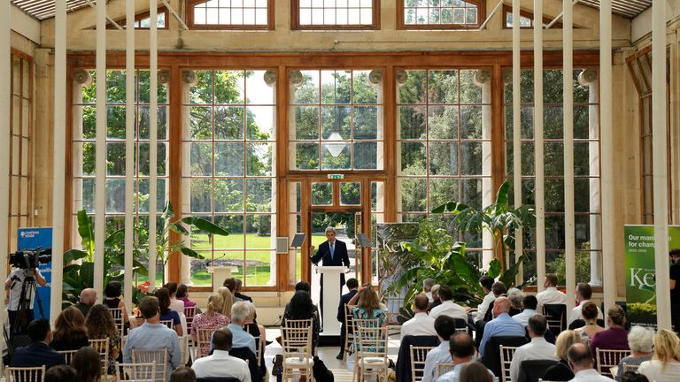 U.S. Special Presidential Envoy for Climate John Kerry delivers a policy speech in the Nash Conservatory at the Royal Botanic Gardens, Kew, in west, London, on a hot sunny day, Tuesday, July 20, 2021. The 19th century glasshouse was originally built in the grounds of Buckingham Palace and moved brick-by-brick to Kew in 1836. Temperatures in London hit 86 degrees Fahrenheit (30 Celsius) on Tuesday. (AP Photo/Matt Dunham)..