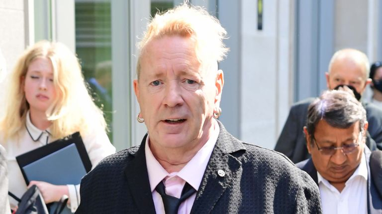 John Lydon, aka Johnny Rotten, arrives at the Rolls Building at the Hight Court, London, to give evidence in a hearing between two former Sex Pistols band members and the frontman over the use of their songs in a television series. Picture date: Wednesday July 21, 2021.