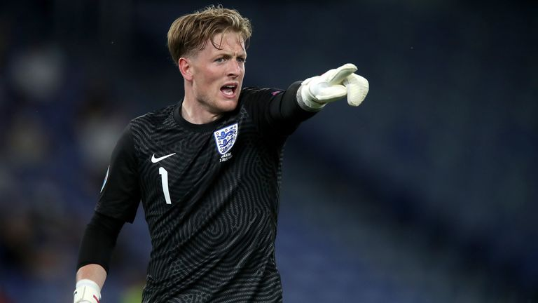 Jordan Pickford pictured during England's quarter-final match against Ukraine