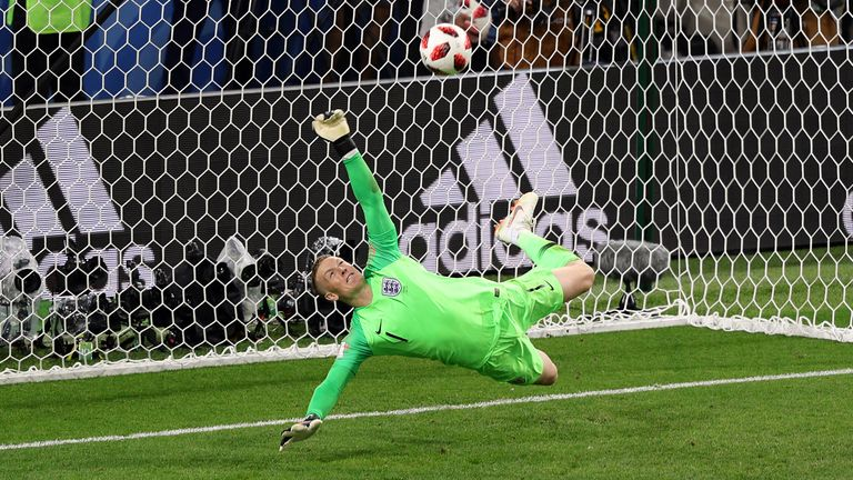 England goalkeeper Jordan Pickford saves a penalty against Colombia at the 2018 World Cup