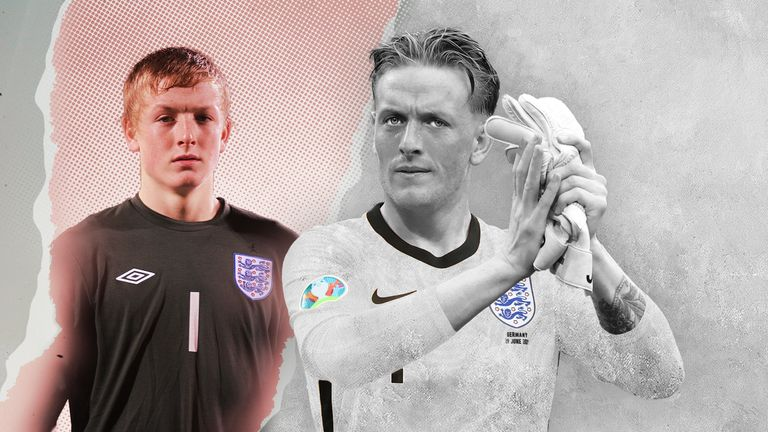 Jordan Pickford, pictured playing for England under-16s and at Euro 2020