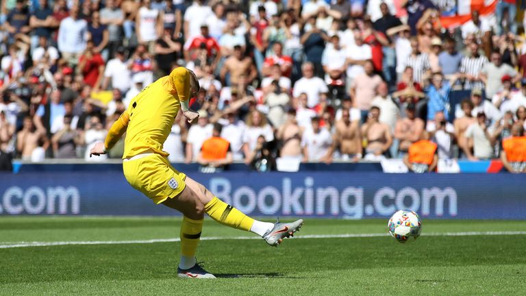 Jordan Pickford scores a penalty for England against Switzerland in the 2019 Uefa Nations League