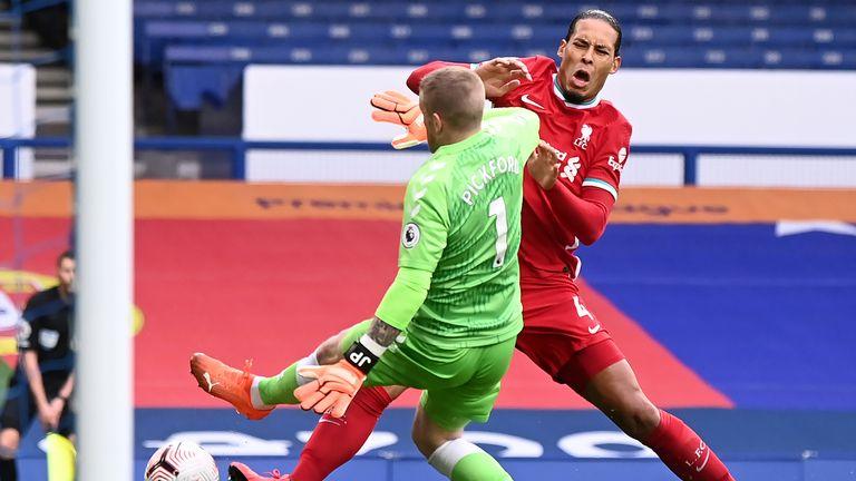 Pickford injured Liverpool's Virgil van Dijk with a reckless challenge in the Merseyside derby