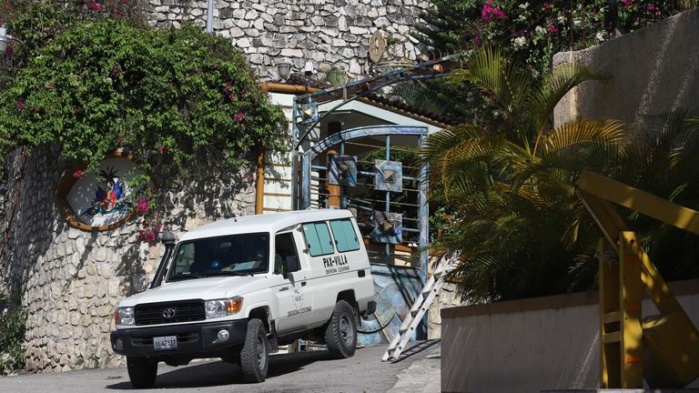 The scene outside the president's home in Port-au-Prince