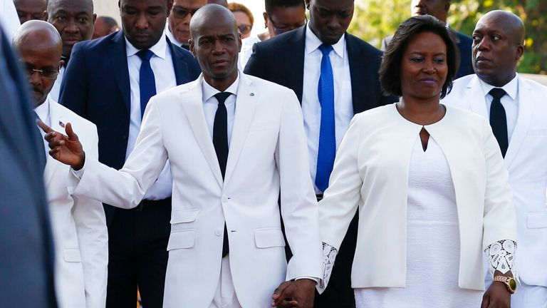 Martine Moise is pictured with her late husband President Jovenel Moise in 2019. Pic: AP