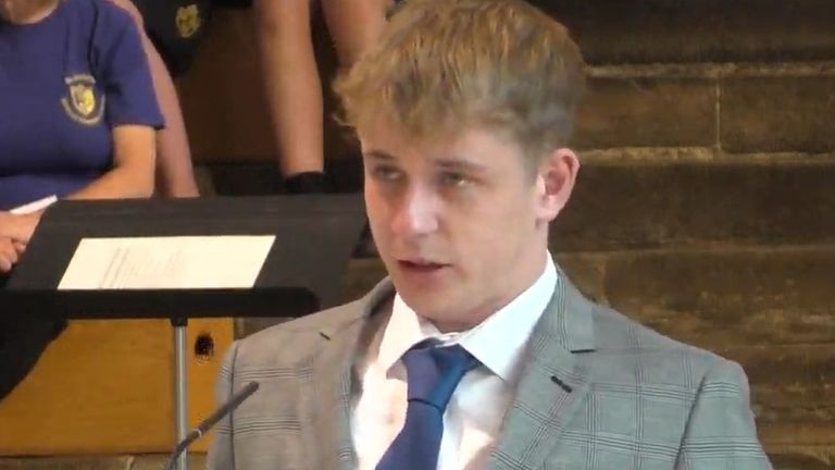 Patrick Davis, the son of Police Community Support Officer Julia James, pays tribute to his mother