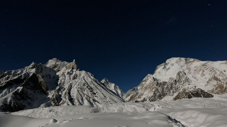 Allen was attempting a new route up K2 (in the distance) after falling from an ice cap on Broad Peak (R) in 2018